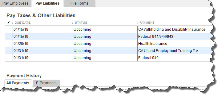 Figure 2: The QuickBooks Payroll add-on calculates the payroll taxes that you must pay.