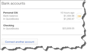 Figure 1: QuickBooks Online's home page displays balances for all of the accounts you've connected.