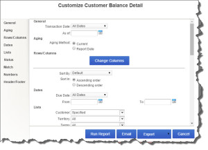 Figure 3: Use QuickBooks Online's customization tools to isolate and display the exact information that you need.