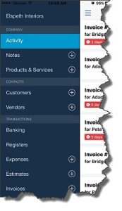 Figure 1: The navigational menu in QuickBooks Online's mobile app slides out from the left side (iPhone 6+ version pictured here).
