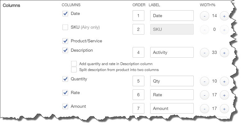 You can decide which fields should and shouldn't appear on your sales forms by checking and unchecking boxes.
