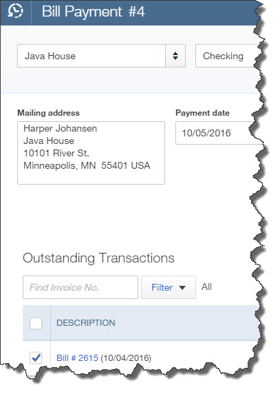 A partial view of the Bill Payment screen.